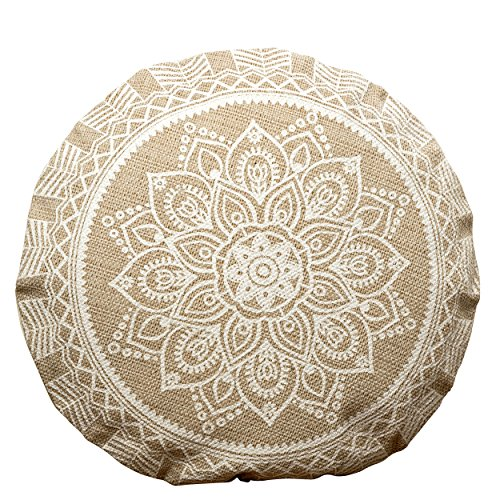 WHW Whole House Worlds The Mandala Floor Cushion, Layered Roundels, Beige and White, Woven Polyester with Cotton Cover, Polyester Fill, 22 Inches Diameter, Sun Blossom Lotus, The Boho Chic Collection