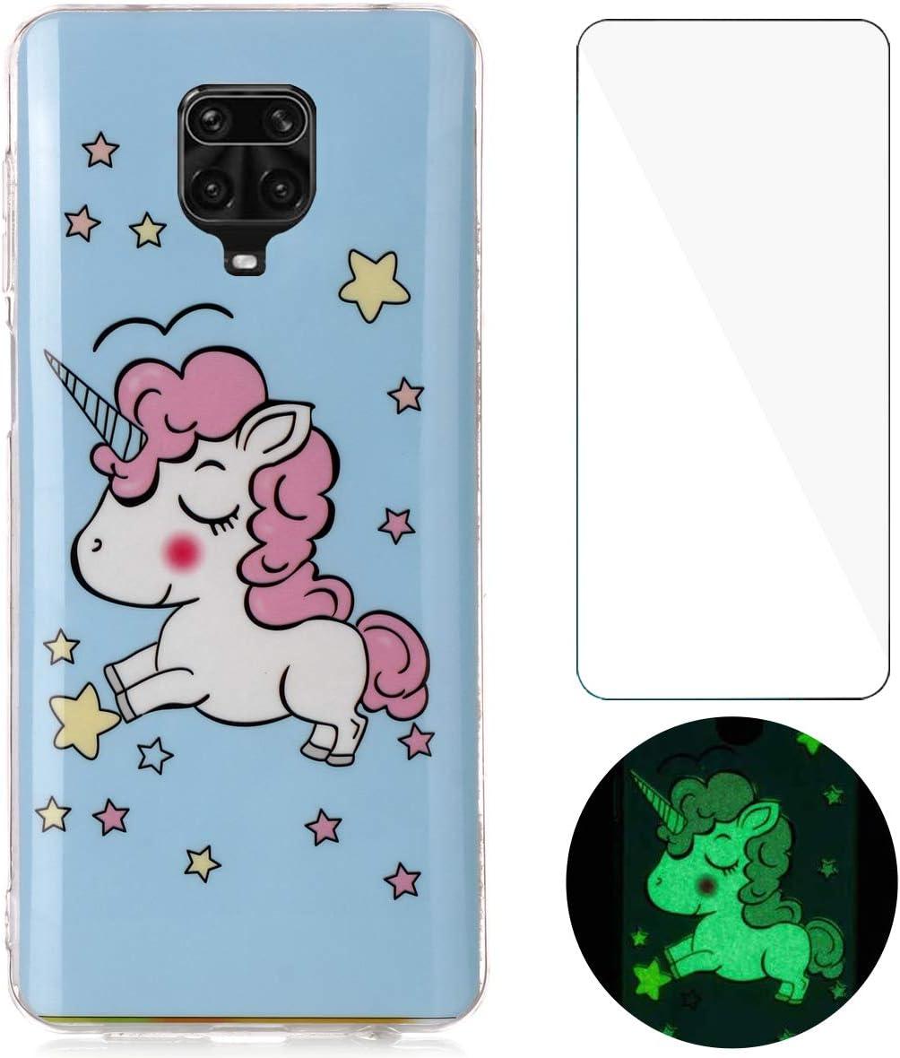 YiKaDa - Funda para Xiaomi Redmi Note 9S / Note 9 Pro/Note 9 Pro MAX + Protectore de Pantalla in Cristal Templado, Carcasa Luminoso Suave Gel TPU Silicona - Unicornio Brillante