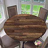 PINAFORE HOME Round Table Tablecloth Wood Floor Texture Hardwood Floor Texture for Wedding Restaurant Party 47.5''-50'' Round (Elastic Edge)