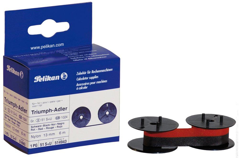 Pelikan 51 S+U Farbband (kompatibel zu Canon/Facit/Sharp, 13 mm x 6 m) schwarz/rot nylon 514943