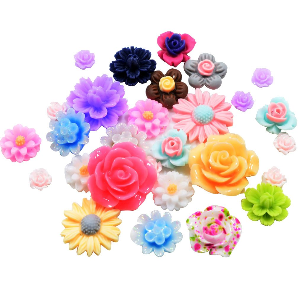 Generic Set de 50pcs Fleur Rose Cabochons Plat en R/ésine Couleurs Assorties
