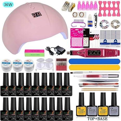 Esmaltes permanentes para uñas Set de manicura con lámpara Gel Set ...