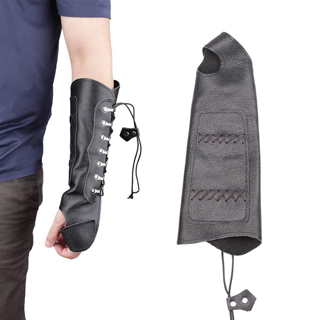 KRATARC アーチェリー レザー アームガード 保護 調整可能 アクセサリー 軽量 狩猟 ターゲット 射撃 大人 ユニセックス ブラック
