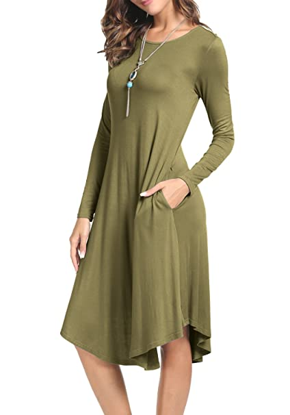 2d2d03ddaa8f levaca Womens Knit O Neck Draped Swing Loose Casual Tunic Dress Army Green M