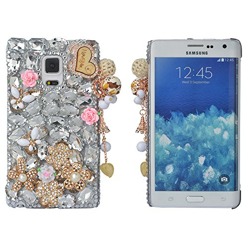 (Spritech(TM) Bling Phone Case For Samsung Galaxy S6,3D Handmade Silver Crystal White Flower Butterfly Accessary Design Cellphone Clear Cover)