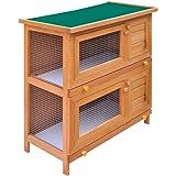 Rabbit Hutch Cage Pet Guinea Pig Chicken Coop Ferret Hen Run House Wooden 2 Door