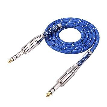 Fosa 6,35 mm estéreo macho a macho Cable de audio para guitarra eléctrica mezclador estéreo: Amazon.es: Electrónica