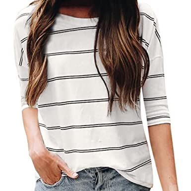 c8e2182efd4a8 Womens 3 4 Sleeve Blouse Casual O Neck Elbow Sleeve Stripe Tops Loose T- Shirt  Clothing