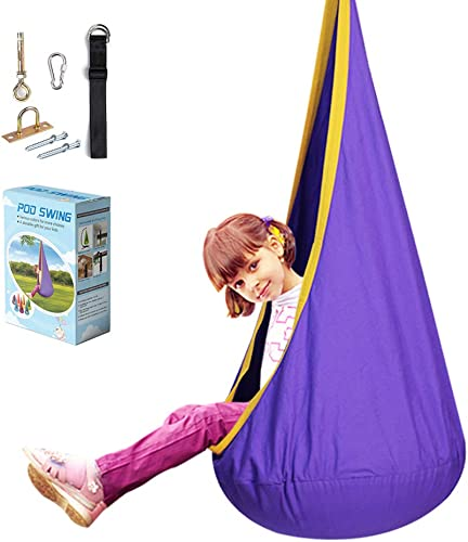 La fete Pod Chair Kids Swing Seat with Handles 100 Cotton Child Hammock Chair Hanging Seat Nest for Indoor and Outdoor, All Accessories Included Purple