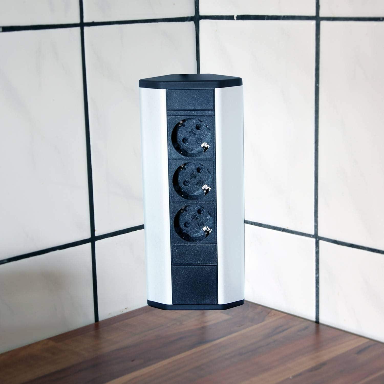Steckdose für Küche und Büro – Ecksteckdose aus Aluminium und hochwertigem  Kunststoff ideal für Arbeitsplatte, Tischsteckdose oder Unterbausteckdose