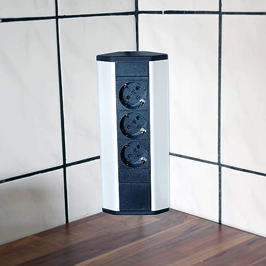 Steckdose für Küche und Büro – Ecksteckdose aus Aluminium und hochwertigem  Kunststoff ideal für Arbeitsplatte, Tischsteckdose oder Unterbausteckdose  ...