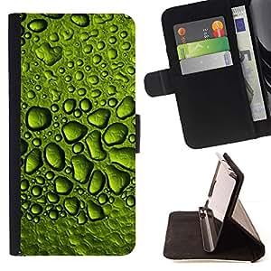 Momo Phone Case / Flip Funda de Cuero Case Cover - Gotas de rocío de agua de lluvia Hoja Naturaleza - Samsung Galaxy Note 5 5th N9200