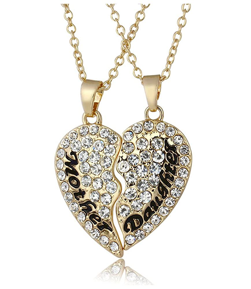 Mother Daughter Necklace 2Pcs Gold Plated Swarovski Elements Crystal Love Heart Necklace for Couple JewelleryClub Gifts J50