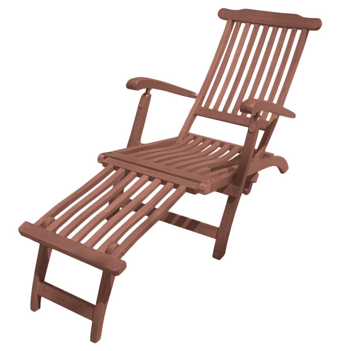 Deckchair Phoenix aus geöltem Eukalyptus Gartenliege Holzliege Sonnenliege Liege