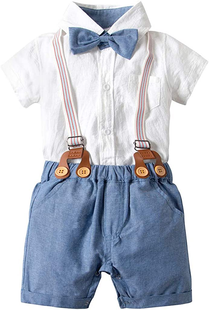 TM Baby Boys Short Sleeve Bow Tie Shirt Strap Shorts Casual Outfits for 3-24 Months Little Boy Gentleman Sets,Jchen