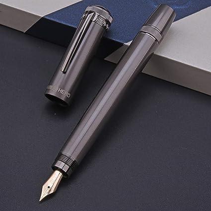 Pluma estilográfica retráctil del pistón rotativo H718, color gris medio del plumín del oro 10K con caja de regalo: Amazon.es: Oficina y papelería