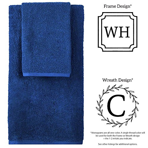 Personalized Monogrammed Decorative Bath Linens for Home, Office, and Gifts, with Decorative Frame.. Hotel Collection 100% USA Made 6-Piece Set - Marine Blue - 2-Bath, 2-Hand & 2-Wash Towels by 1888 Mills (Image #2)