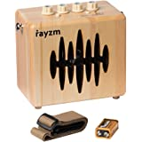 Rayzm Electric Guitar Combo Amplifier, 5 Watt Mini Practice Amp for Guitar with Strap Belt, Power Adapter/Aux-in/Headphone Jacks, 4 Inch Speaker, Battery Included.