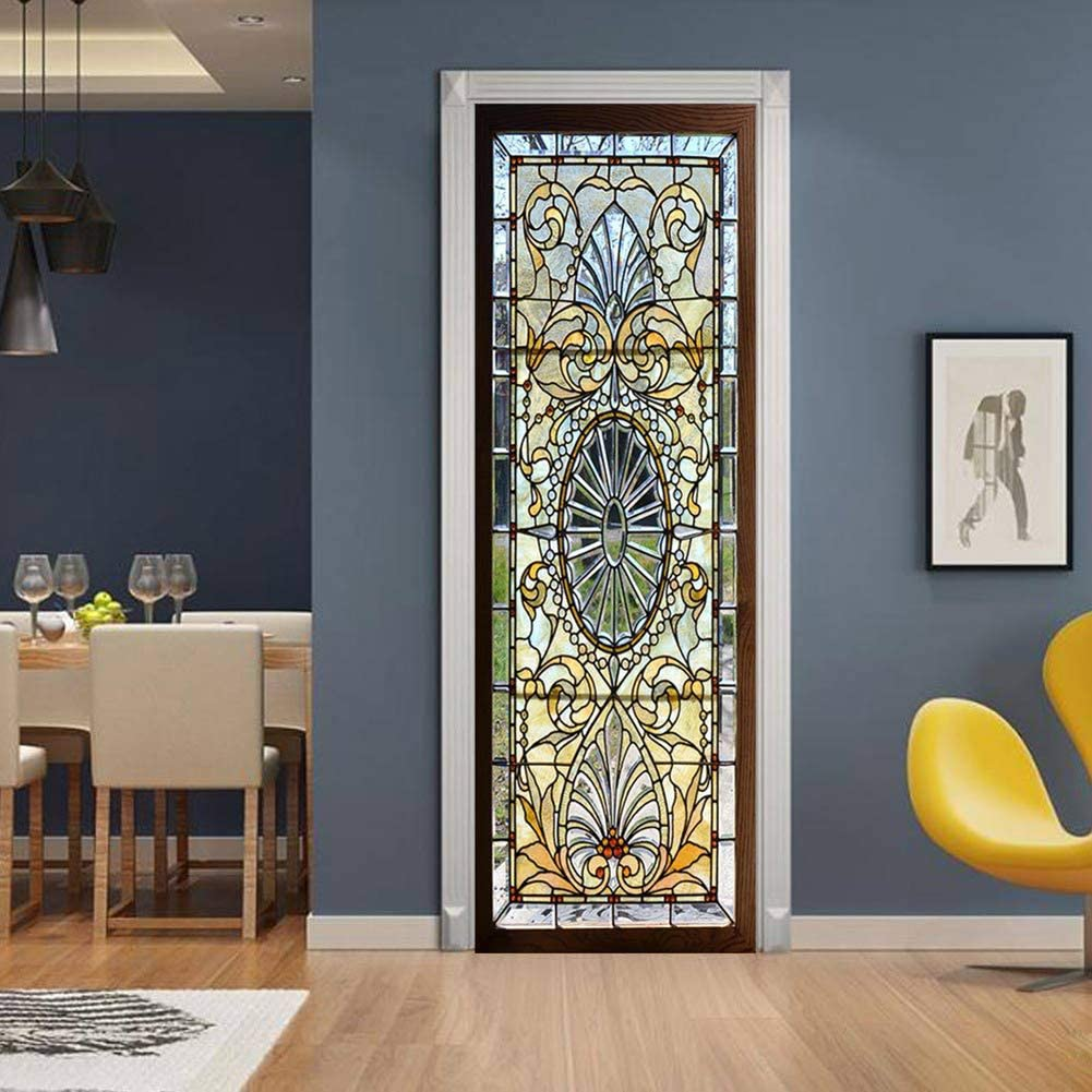 """ChezMax 3D Door Stickers Mural Wallpaper PVC Art Sticker Removable Self Adhesive Wall Gallery Decal for Home Office Decoration Retro Stained Glass Door Pattern 30.3""""W 78.7""""H"""