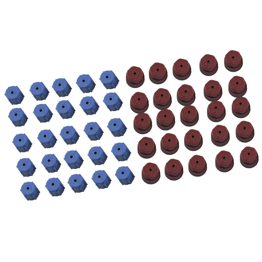 MagiDeal 50 Pieces AC A/C Charging Port Service Caps R134a R12 13mm & 16mm Red Blue