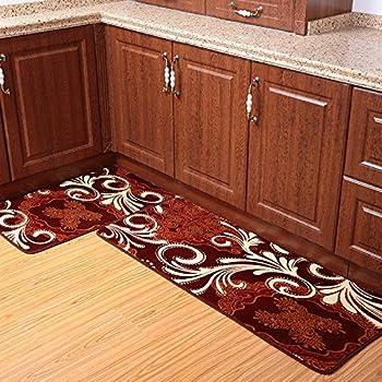 Ustide 2 Piece Coffee Totem Kitchen Rug Set Coral Fleece Bathroom Rug Sets  Super Soft