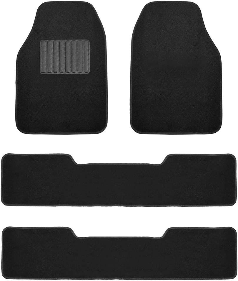 FH Group F14406BLACK Black- 3 Row Premium Carpet Floor Mats with Drivers Heel Pad for Trucks, SUVs, and Minivans