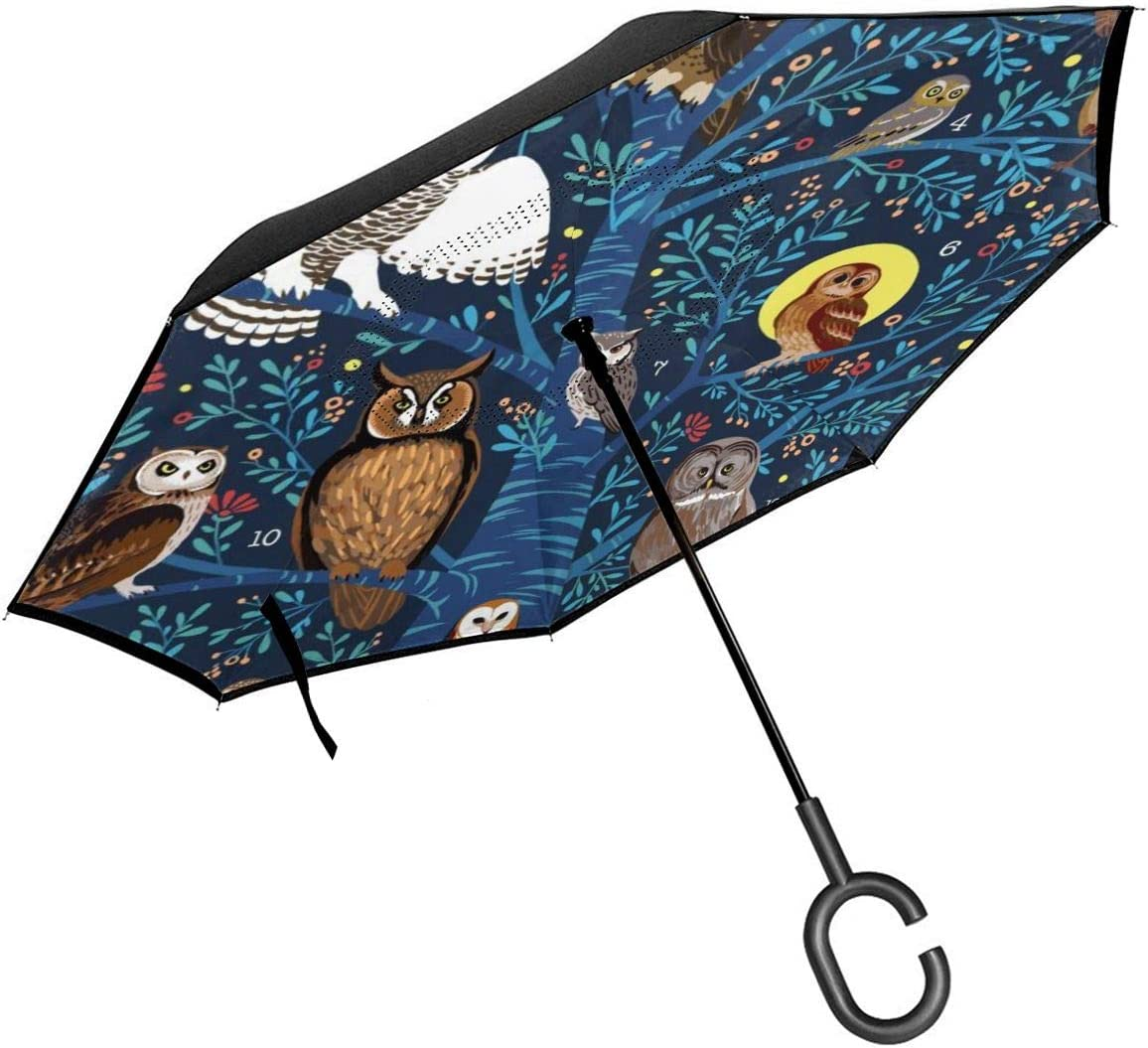 Self Stand Upside Down with C-Shaped Handle Folding Reverse Umbrella for Car Rain Outdoor PYFXSALA Digital Owl Windproof Inverted Umbrella Double Layer UV Protection