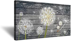 """iHAPPYWALL Rustic Style Neutral Grey Floral Wall Decor Dandelion White Flower on Vintage Grey Wood Board Background Picture for Bedroom Stretched and Framed Ready to Hang 20""""x36"""""""