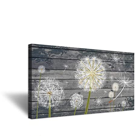 iHAPPYWALL Rustic Style Neutral Grey Floral Wall Decor Dandelion White Flower on Vintage Grey Wood Board Background Picture for Bedroom Stretched and Framed Ready to Hang 20 x36