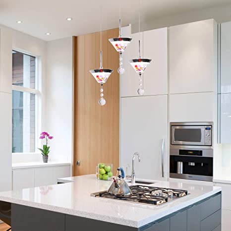 CHYING Modern LED 3-Light Pendant Lights, Mini Cone 27W Kitchen Island  Crystal Chandelier Adjustable Hanging Light Fixture for Dining Room, ...