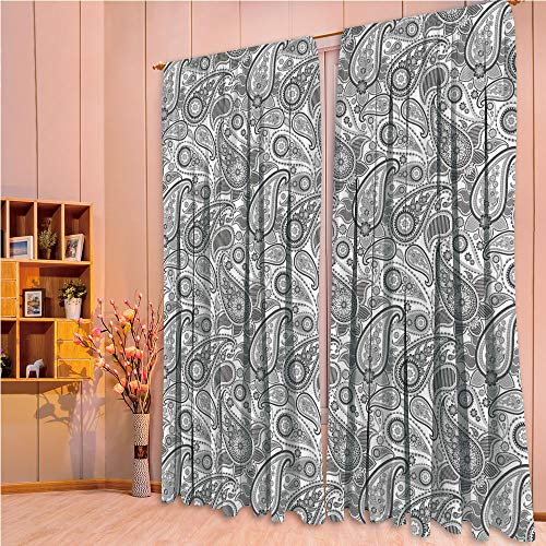 ZHICASSIESOPHIER Darkening Thermal Insulated Short Curtain Adjustable Tie Up Shade Panel for Small Window,Rod Pocket,Persian Ornate Leaf Figures with Stripes Tracery 108Wx90L Inch ()