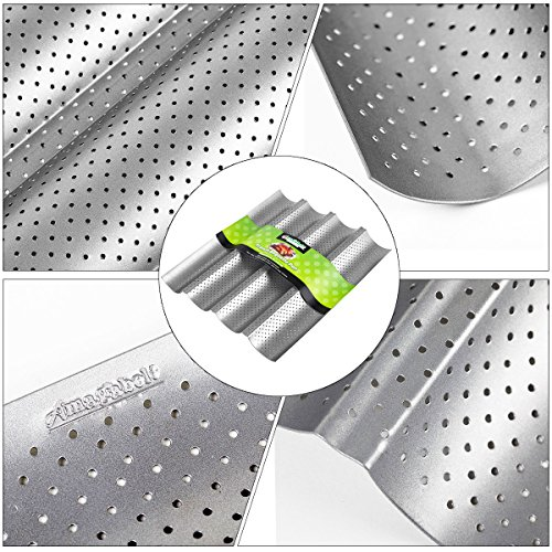 Amagabeli Nonstick Perforated Baguette Pan 15'' x 13'' for French Bread Baking 4 Wave Loaves Loaf Bake Mold Toast Cooking Bakers Molding 4 Gutter Oven Toaster Pan Cloche Waves Silver Steel Tray Italian by AMAGABELI GARDEN & HOME (Image #3)