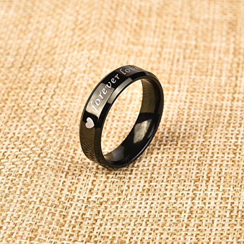 DALARAN Forever Love Stainless Steel Rings Black Couple Ring Titanium Eternity Band Matching Set