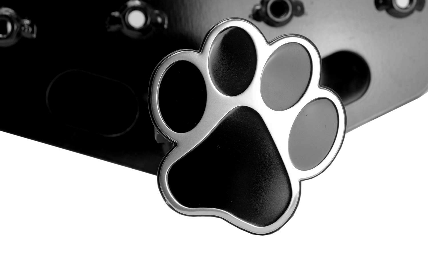 LFPartS Dog Animal Paw Foot Emblem Metal Trailer Hitch Cover Fit 2 Receivers, Chrome /& Black