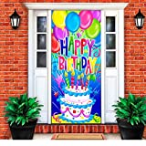 Door Sox Stretchable Fabric Happy Birthday Door Cover (Cake and Balloons)