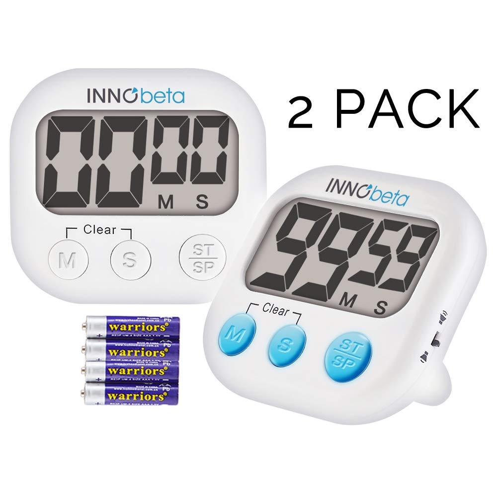 InnoBeta 2X Temporizador Digital de Cocina con Cuenta atrás, Electrónico cronómetro y Magnético Temporizador, Fitness Timer convolumen de Alarma Fuerte ...