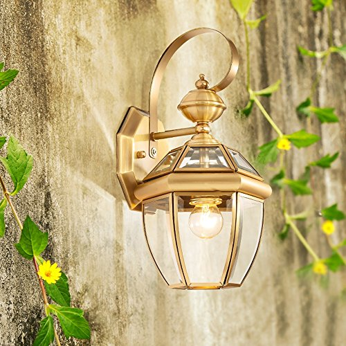 13.78 Inch/35cm high wall lamp Modern minimalist fashion E27 light bulb 1 31-40w copper Glass lampshade Bar Bedroom Living room outdoor (Gold) by Lizichun (Image #2)'
