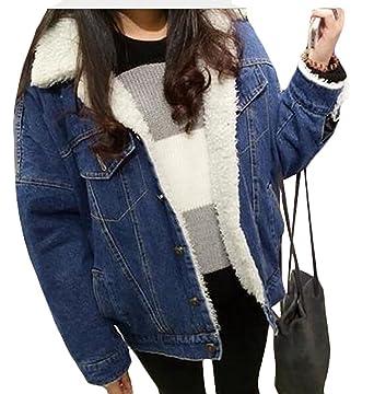 cf56b76bf7c HTOOHTOOH Women s Thicken Lambs Wool Denim Jacket Loose Jean Coat at ...