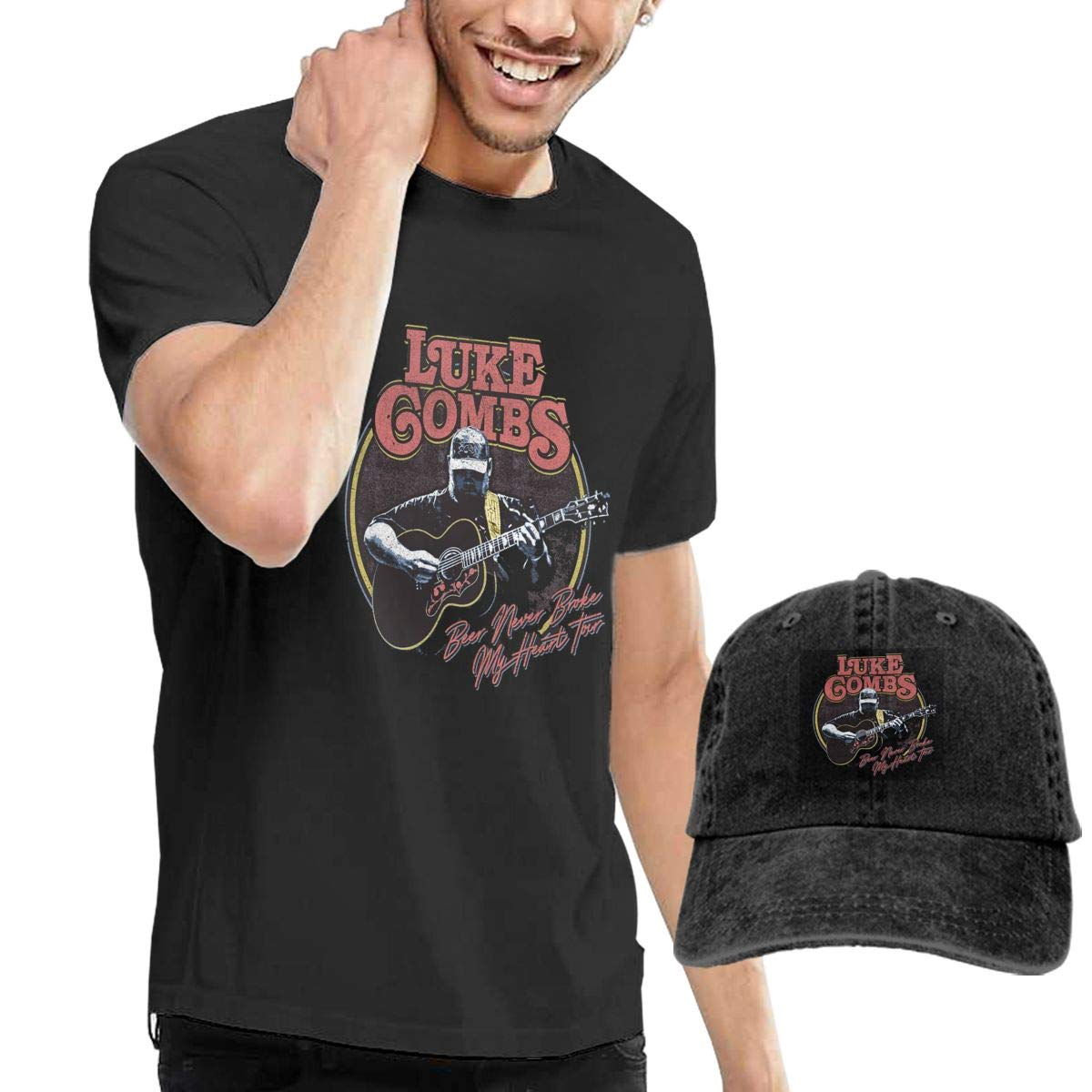 Kangtians Luke Combs Beer Never Broke My Heart Tour Unisex T-Shirt Cowboy Hat Cap Black