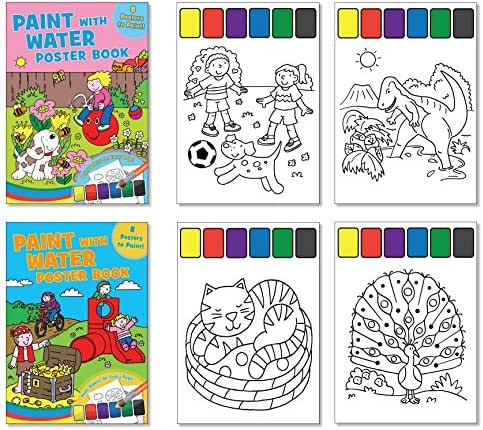 Childrens Paint with Water Poster Books - Set of 2 Books, Paint included on Each Page, Activity Books for Kids