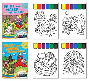 childrens paint with water poster books set of 2 books paint included on each page activity books for kids