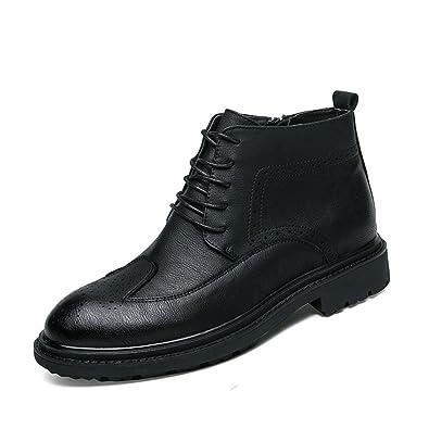 MSKAY MEN SHOES Botines de Cuero Para Hombre Ate Para Arriba Los Zapatos Botas Cortas Para