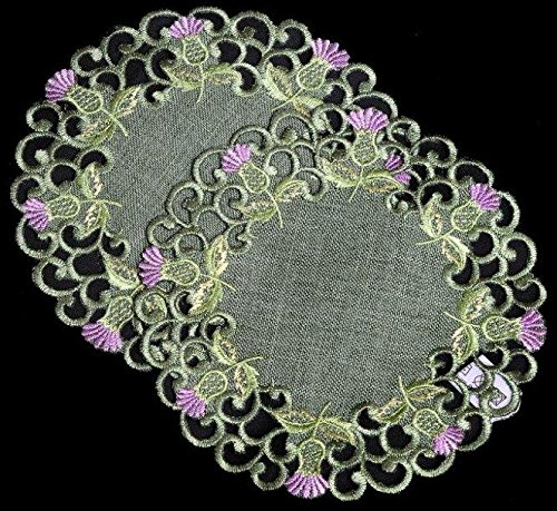 Pair of Doilies (small) in a Balmoral Thistle Design (Green) by Justina Claire