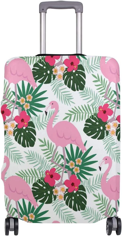 MALPLENA Dark Pink Flamingo With Big Leave Pattern Luggage Protector Suitcase Cover