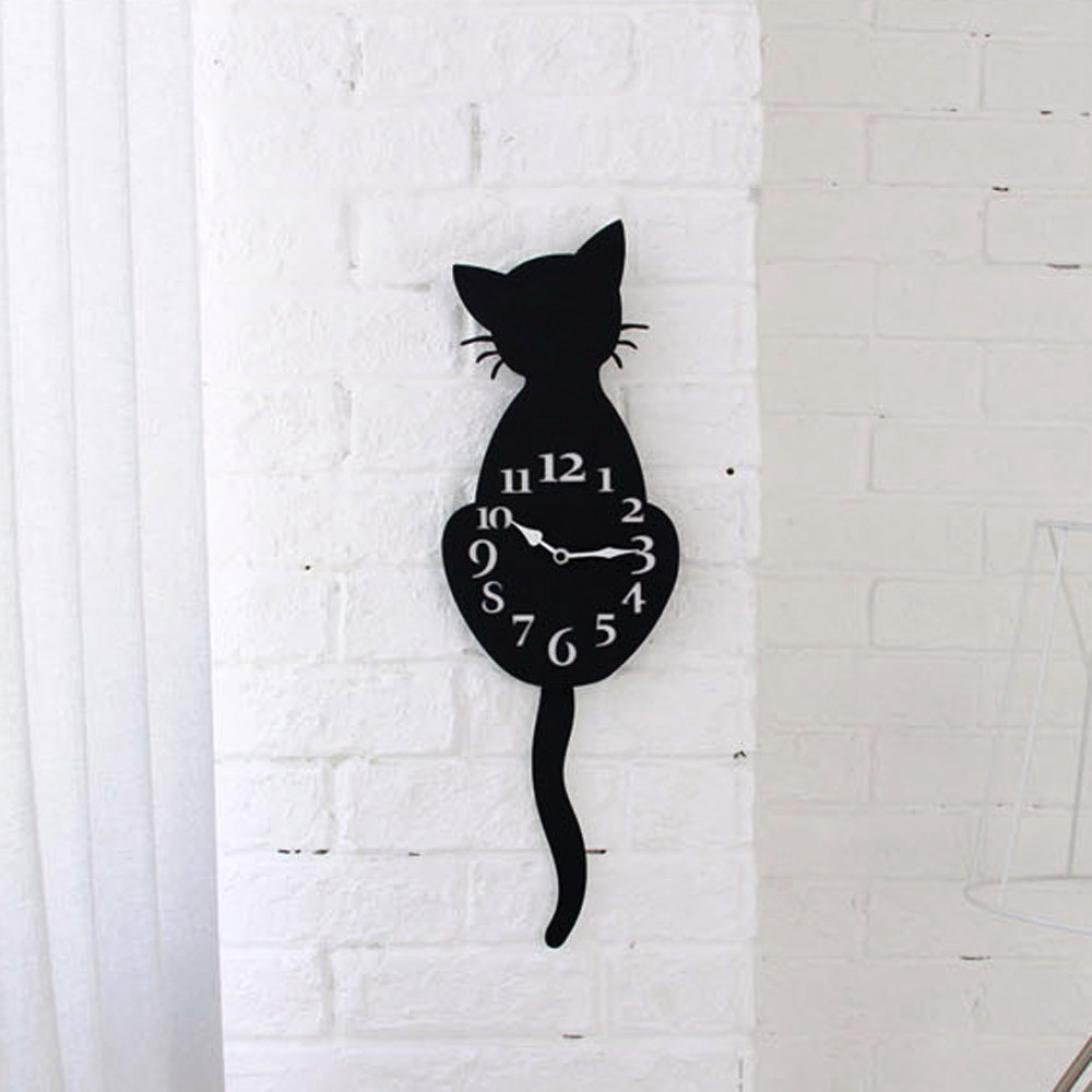Compia Silence Waterproof EVA Foam Material Creative Moving Tail Cat Cartoon Cute Wall Clock For Home Rooms Coffee Shop Hall Decor Howyi Store