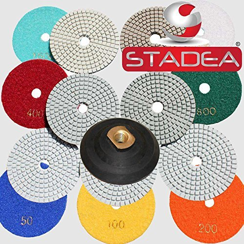 Diamond Polishing Pads 4 inch Wet Dry Set of 11 1 Backer Pad Best Value Granite Concrete