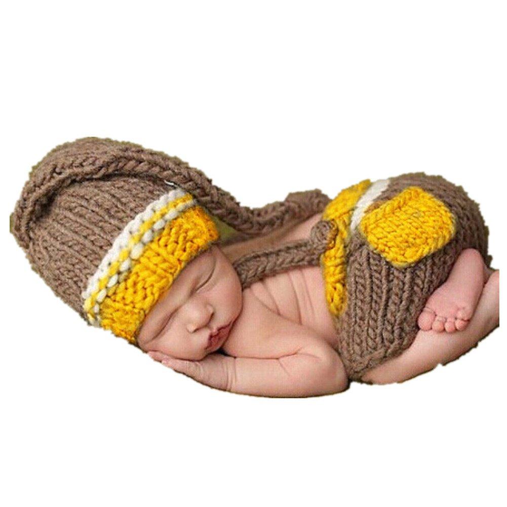 dc67e83e1df7 Amazon.com  Newborn Baby Photo Shoot Props Girl Boy Crochet Knit Hat  Costume Stripe Hat Pants Overalls Photography Props  Clothing