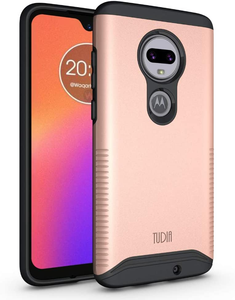 TUDIA Motorola Moto G7 / G7 Plus Case, Slim-Fit Heavy Duty [Merge] Extreme Protection/Rugged but Slim Dual Layer Case for Motorola Moto G7 / G7 Plus (Rose Gold)
