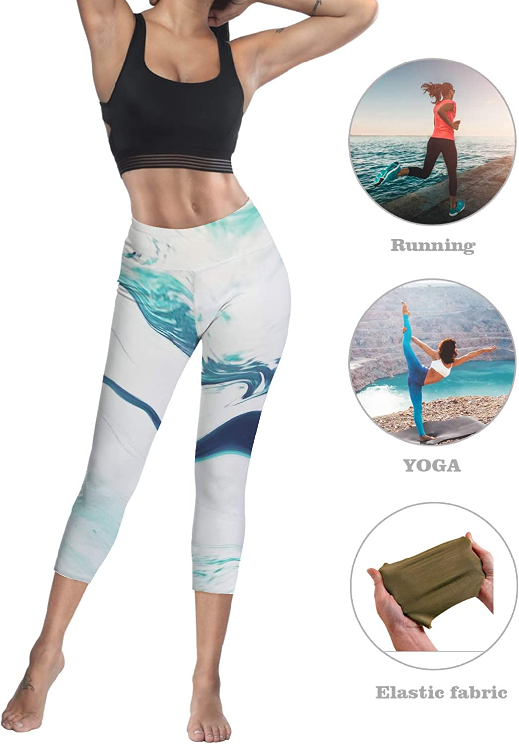 Anmevor Women Leggings Tummy Control Pants Yoga Capris for Fitness Riding Running