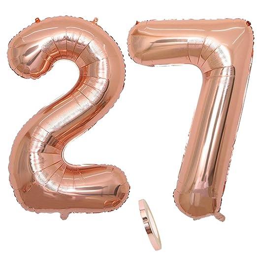2 Globos Número 27 Años, Number 27 Globo Chica de oro rosa, 40
